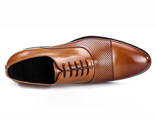 Herren Lederschuhe Spring Hollow Herren Lederschuhe Business spitz männlichen Sandalen Breathable British Style Single Schuhe Herrenschuhe ( Farbe : Schwarz , größe : EU44/UK8.5 ) Braun