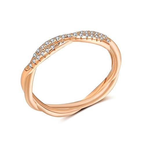 (SISIBER Minimalist Unique Thin Twist Rope Rose Gold Rings Setting Micro Cubic Zirconia Woman Girls Party Accessories,11)