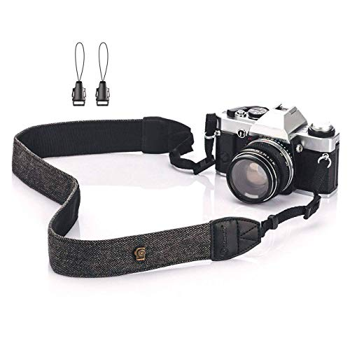 TARION Camera Shoulder Neck Strap Vintage Belt for All DSLR Camera Nikon Canon Sony Pentax Classic White and Black - Camera Neck Strap Sony