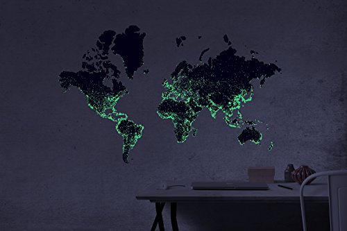 World Map Wall Decal – Glow In The Dark Cities | Peel and Stick Purple Large Vinyl | Home Decor For Living Room, Bedroom, Kitchen | Includes Mini Sticker For Laptops, Phones, Fridges and Mirror