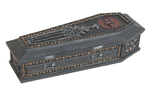 Gothic Coffin Vampire Slayer Kit Trinket Box, 8 Inch Long