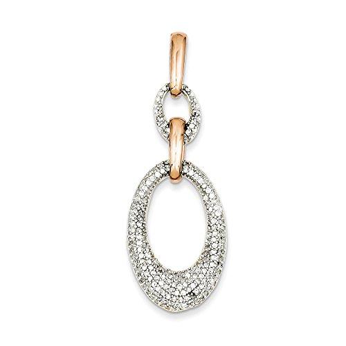 Argent Sterling Vermeil CZ pendentif ovale-JewelryWeb