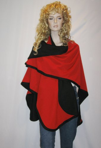 Cashmere Pashmina Group- Cape Woolen Reversible Ruana Knitted Poncho Shawl Cardigans Sweater Coat (Black/ Red)