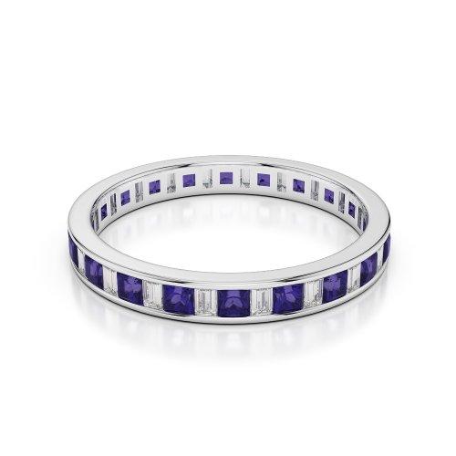 Or blanc 18carats 0,60CT G-H/VS Certifié Coupe ronde tanzanite et diamants Bague éternité Agdr-1140