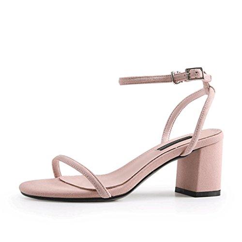 de abierta mujer con 1 para grueso punta sandalias sandalias tacón Verano Sandalias rosadas con simples hebilla twXxq5zz