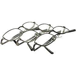 Foster Grant Men's Council 3 PK Rectangular Reading Glasses,Gunmetal,1.5