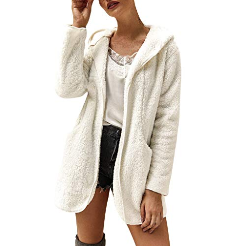 Price comparison product image Women's Open Front Hooded Faux Fleece Cardigan Coats Warm Winter Oversized Casual Loose Outwear with Pockets White