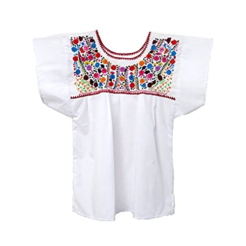 Mexican Blouse Puebla by Ethnic Identity (X-Large, White)