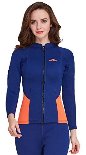 - Cahayi 2mm Neoprene Long Sleeve Diving Jacket Front Zipper Women's Wetsuit Top