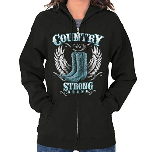 Brisco Brands Country Strong Boots Wings Cowgirl Southern Zip Hoodie Black