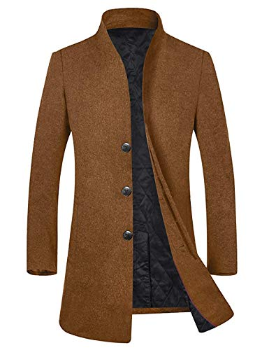 Men's Winter Wool Trench Coat Business Suits Long Top Coat Jacket (Camel-50% Wool-Fleece Lining, L)