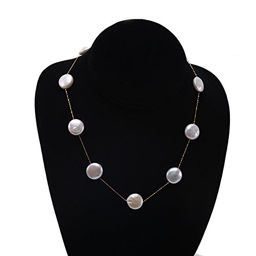 14K Gold Chain 12~13mm White Freshwater Coin Pearl Necklace - Pearl Station Necklace Coin