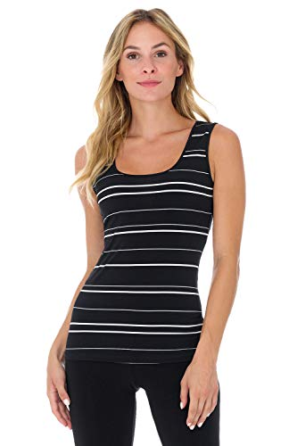 (Rekucci Travel in Style - Women's Essential Knit Scoop Neck Sleeveless Top (Small,Black/Ivory Wide Stripe))