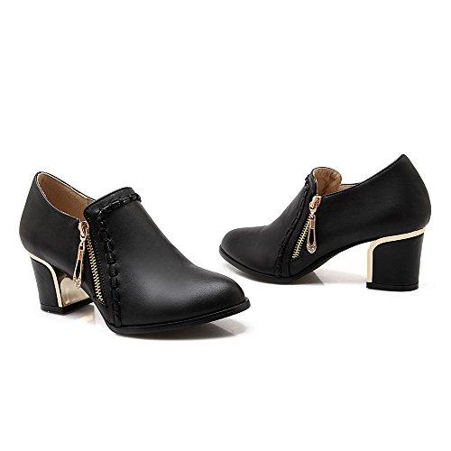Amoonyfashion Donna Con Cerniera A Punta Chiusa Gattino-tacchi Pu Pompe-scarpe Solide Nere