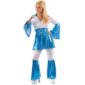 1970's ABBA Ladies 70's Fancy Dress Costume Mamma Mia Blue Large (disfraz)