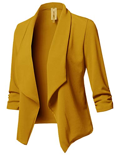 Stretch 3/4 Gathered Sleeve Open Blazer Jacket Mustard L