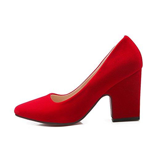 Balamasa Dames Pieds Carrés Talons Chunky T-shirts À Talons Hauts Pompes Uréthane Chaussures Rouges