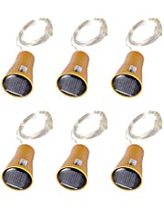 Bottle Lights Cork Led Solar Fairy Lights String with 1 M Copper Wire for Diy Party Wedding Decoration Cold White 6pcs