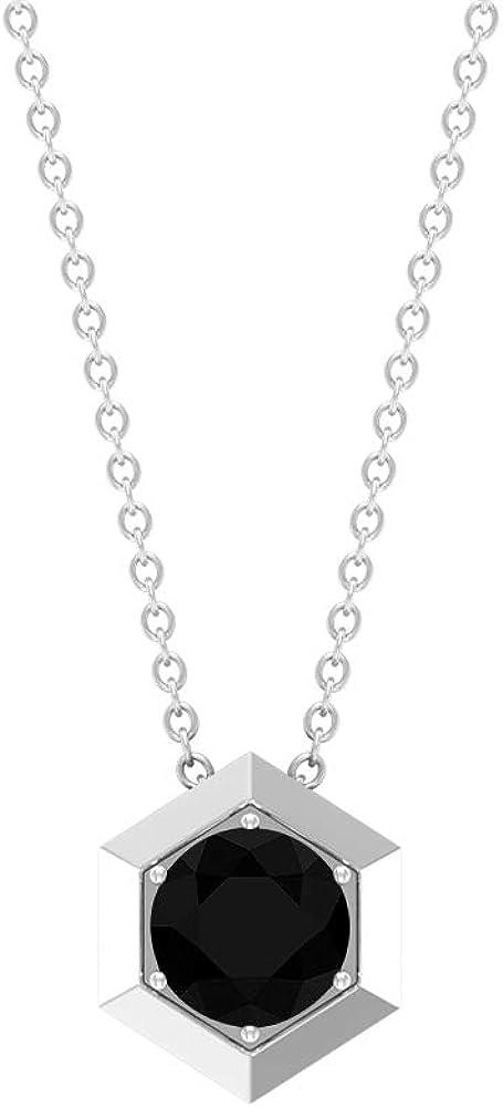 Colgante de ónix negro certificado de 1,05 quilates para mujer, collar de aniversario con piedra natal de abril, oro grabado, colgante de ónix negro dorado de 10 quilates