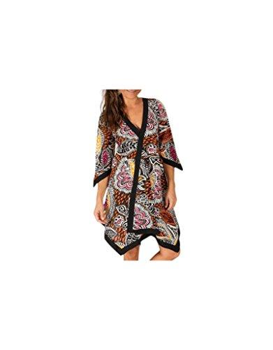 Modeincoton - Algodón larga túnica asimétrica del cuello V manga 1/2 Modeincoton TUM061 Multicolor