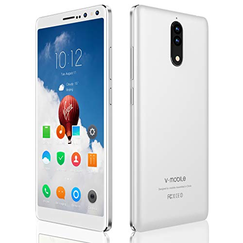 (Smartphones Unlocked 2018,V Mobile N8-N 5.5 Inches 8.0MP Dual Rear Camera 16GB ROM Android 7.0 2800mAh Battery 3G Dual Sim 18: 9 Screen Simple Mobile Phone for AT&T/T Mobile, 9Pcs (White))