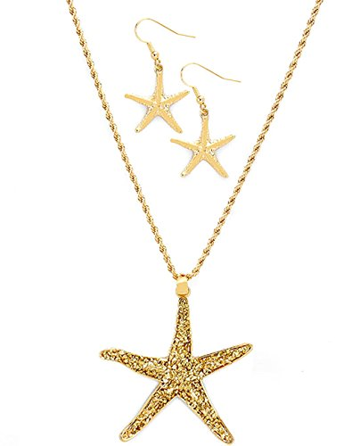 Women's Nautical Marine Sea Life Ocean Starfish Pendant Necklace and Earring Set, Gold-Tone Dusted