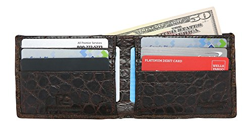 Brown Genuine Alligator Millennium Bifold Wallet – Alligator Inside and Out RARE - Factory Direct - Gift Box - Slim Billfold - Black Brown Cognac – Made in USA by Real Leather Creations FBA298 by Real Leather Creations (Image #1)