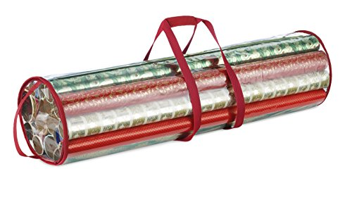 Whitmor Clear Gift Wrap Organizer (Clear/Red Trim)