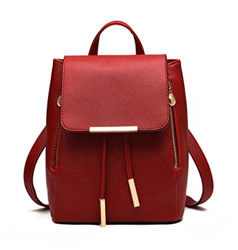 Bag Leather Wine Casual Girls for Fezhiomu Pu Shoulder bag Backpack Red Daypack Mini School Hzqffp