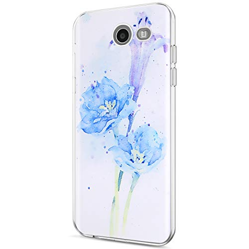 Galaxy J3 2017 Case,Galaxy J3 Emerge/J3 Prime/J3 Mission/J3 Eclipse/J3 Luna Pro/Sol 2/Amp Prime 2 Clear Case,ikasus Thin Soft Back Cover Crystal Clear TPU Silicone Rubber Back Case,Blue Purple Flowers -