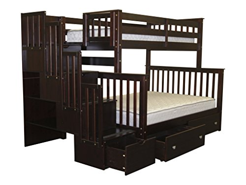 Bedz King Stairway Bunk Bed Twin over Full with 4 Drawers in the Steps and 2 Under Bed Drawers, Cappuccino