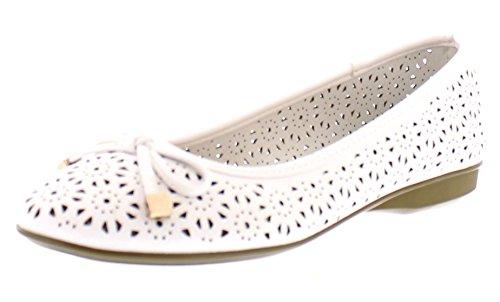 Gold Toe Women's Ambrosia Perforated Ballet Flat Mini Wedge, Dual Density Memory Foam Comfort Dress Shoe White 10 M - Gold White Cut Out