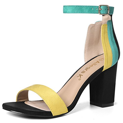 Allegra K Women's Chunky Heel Ankle Strap Sandals Green,yellow