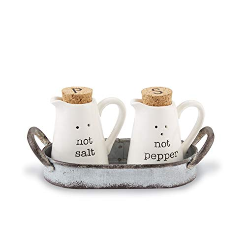 Mud Pie 40250009 Farmhouse Inspired Ceramic Aluminum Salt and Pepper Caddy Set, One size, White