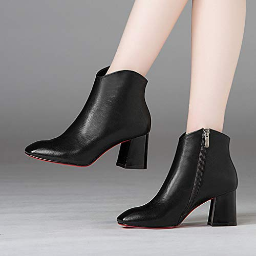 Cm Botines Tacones Negro Invierno Mujer Segundo Para Genuino Con Zapatos Cremallera Otoño 6 Cuero De 5 Rojo Ásperos Yan qCOdO