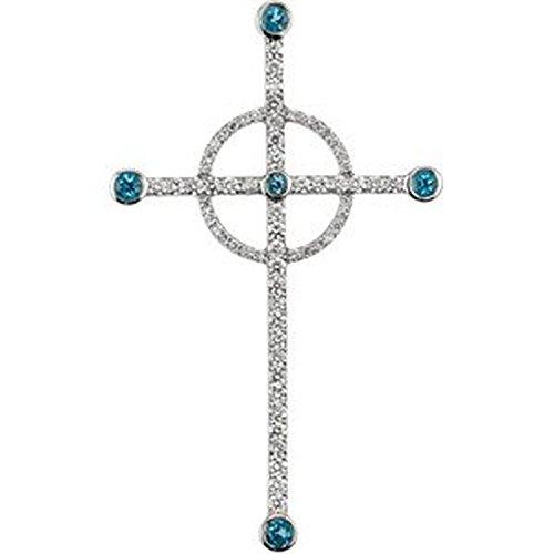 Halo Cross Swiss Blue Topaz and Diamond, 14k White Gold Pendant