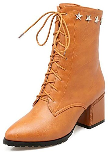 IDIFU Womens Comfy Pointed Toe Mid Chunky Heels Lace Up Side Zipper Ankle Boots Riding Booties With Stars Yellow m3yXypHLkx