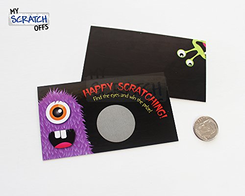 Spooky Monster Funny Halloween Scratch Off Game Card Set 25 Cards (24 Sorry 1 Winner), Kit for Kids School Party Favors, My Scratch Offs