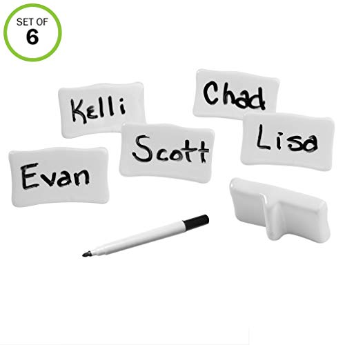 Evelots 6 Reusable Porcelain Place/Name Cards with Marker, Easel Backs, Ivory