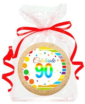 90th Birthday / Anniversary Rainbow Image Freshly Baked Party Favor / Gift Decorated Sugar Cookies - 12pk by CakeShopUSA