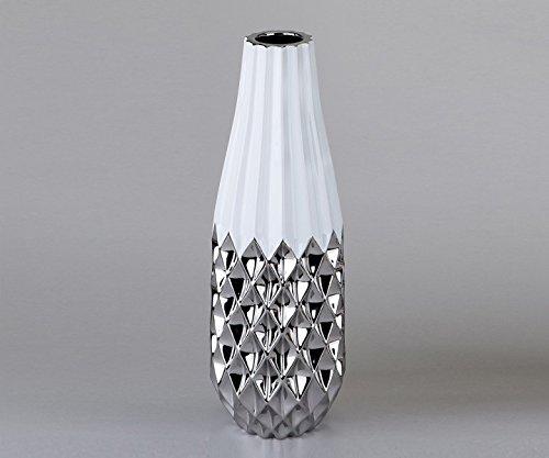 Deko Vase, 40 cm, weiß-silber