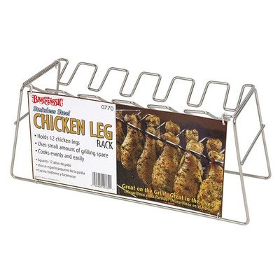 Bayou Classics 0770 Chicken Leg Stainless Steel Grilling Rack - 12 Leg Size (Chicken Legs Grill Rack compare prices)