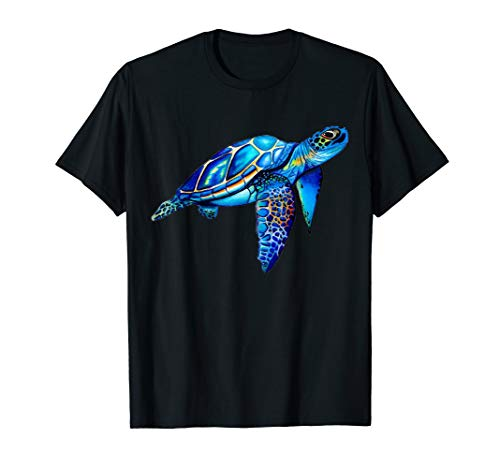 Cute Turtle Shirt - Watercolor Blue Sea Turtle Hawaiian Honu T-Shirt