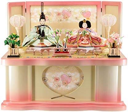 雛人形収納飾り ホワイトピンク塗 ハート抜き桜刺繍 【W63cm×D43cm×H54cm】