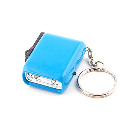 Mini Dynamo Wind-up KeyChain 2-LED Camping Cycling Outdors Night Torch Flashlight Blue