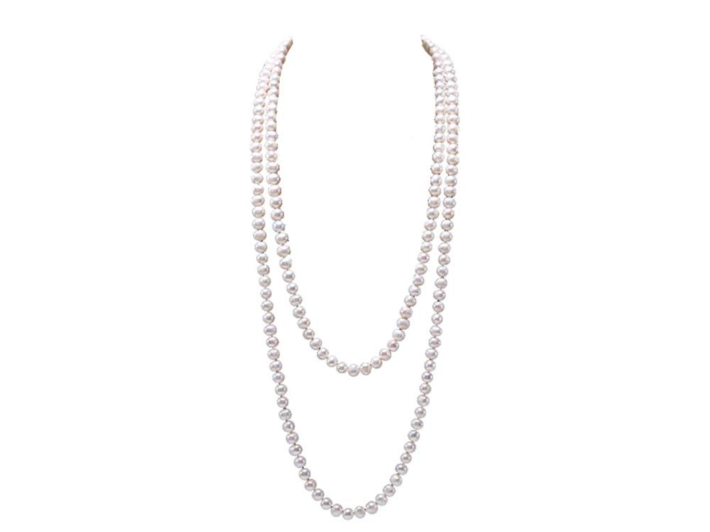 JYX Round Natural White 8-9mm Freshwater Pearl Necklace Endless Long Sweater Necklace 64'' by JYX Pearl (Image #1)