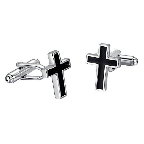 Yoursfs Cross Cufflinks Black Stainless Steel Mens Weeding Cuff Links Classic Jewelry - Cufflink Cross