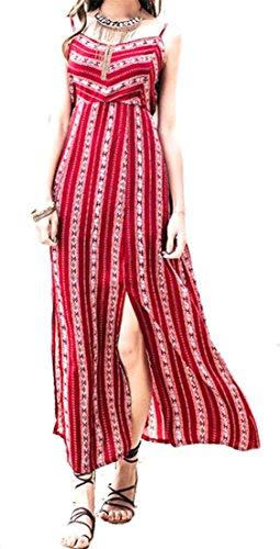Abito Con Lato Stampa Backless Cinghia Womens Spacco Della Boemia Lo Spaghetti Di Red2 Dashiki Di Cruiize W7pPfwqnw