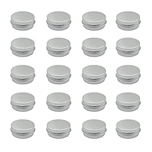 20 Packs Round Tin Container Bottle Aluminum Screw Lid Containers Screw Top Round Aluminum Tins Cans
