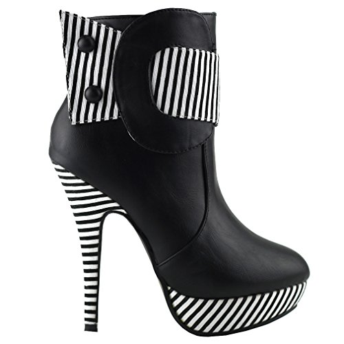SHOW STORY Black Striped Button Zipper High Heel Stiletto Platform Ankle Boots,FZ30303BK38,7US,Black